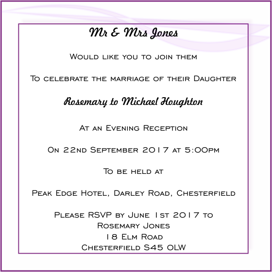 Wedding evening invitation wording stopboris Choice Image